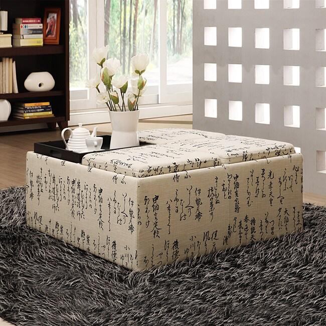 Decor Storage Japanese Script Linen Ottoman 13843029