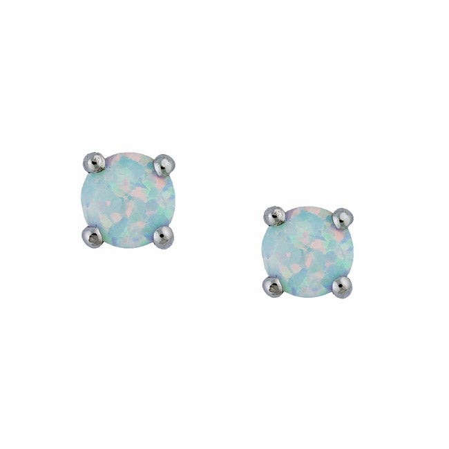 Gioelli Sterling Silver Round Simulated Opal Stud Earrings