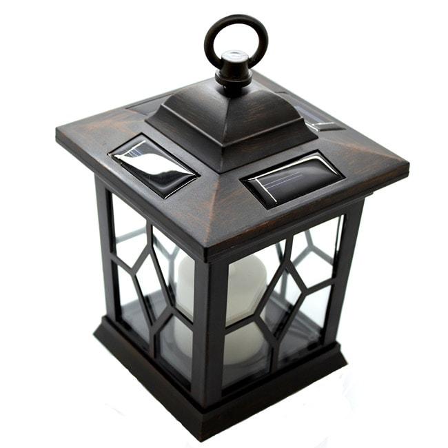 Solar Lights Home Bargains: Brown Hanging Solar Candle Lantern Post Lights (Pack Of 2