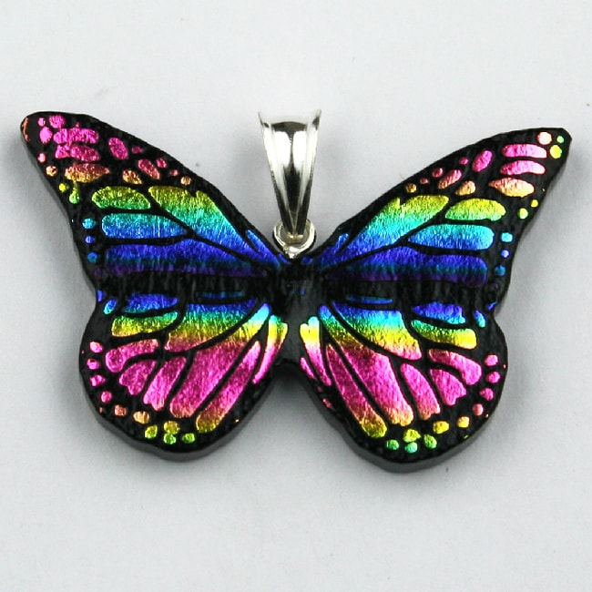 Sterling Silver Dichroic Glass Rainbow Butterfly Pendant (Mexico)