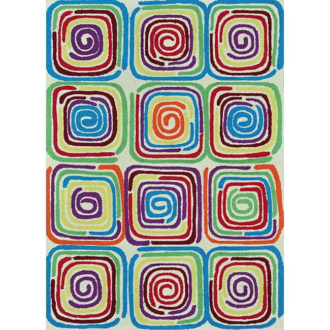 Peony Ivory/ Multi Geometric Rug (3'6 x 5'6)