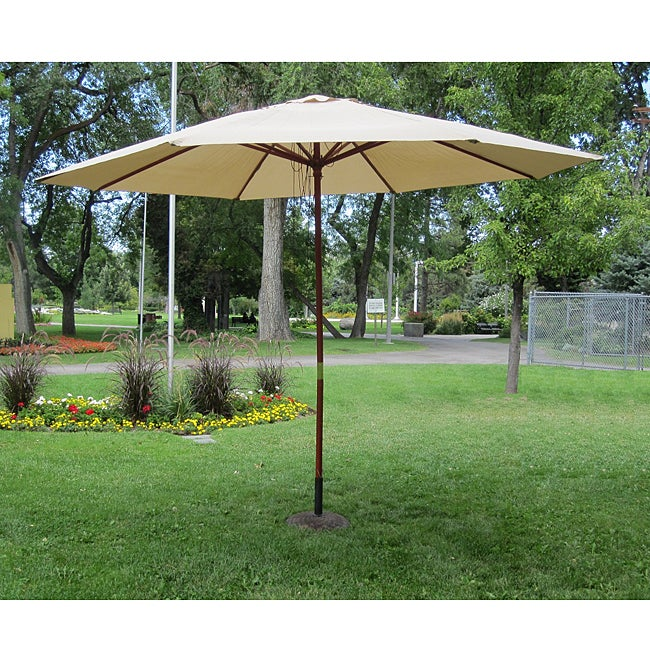 Khaki Wood 13-ft Patio Outdoor Umbrella