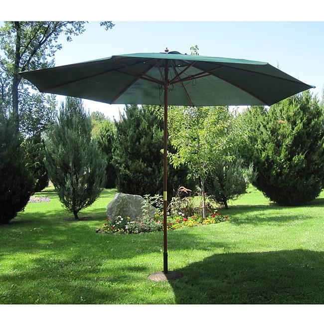Hunter Green Wood 13-ft Patio Outdoor Umbrella