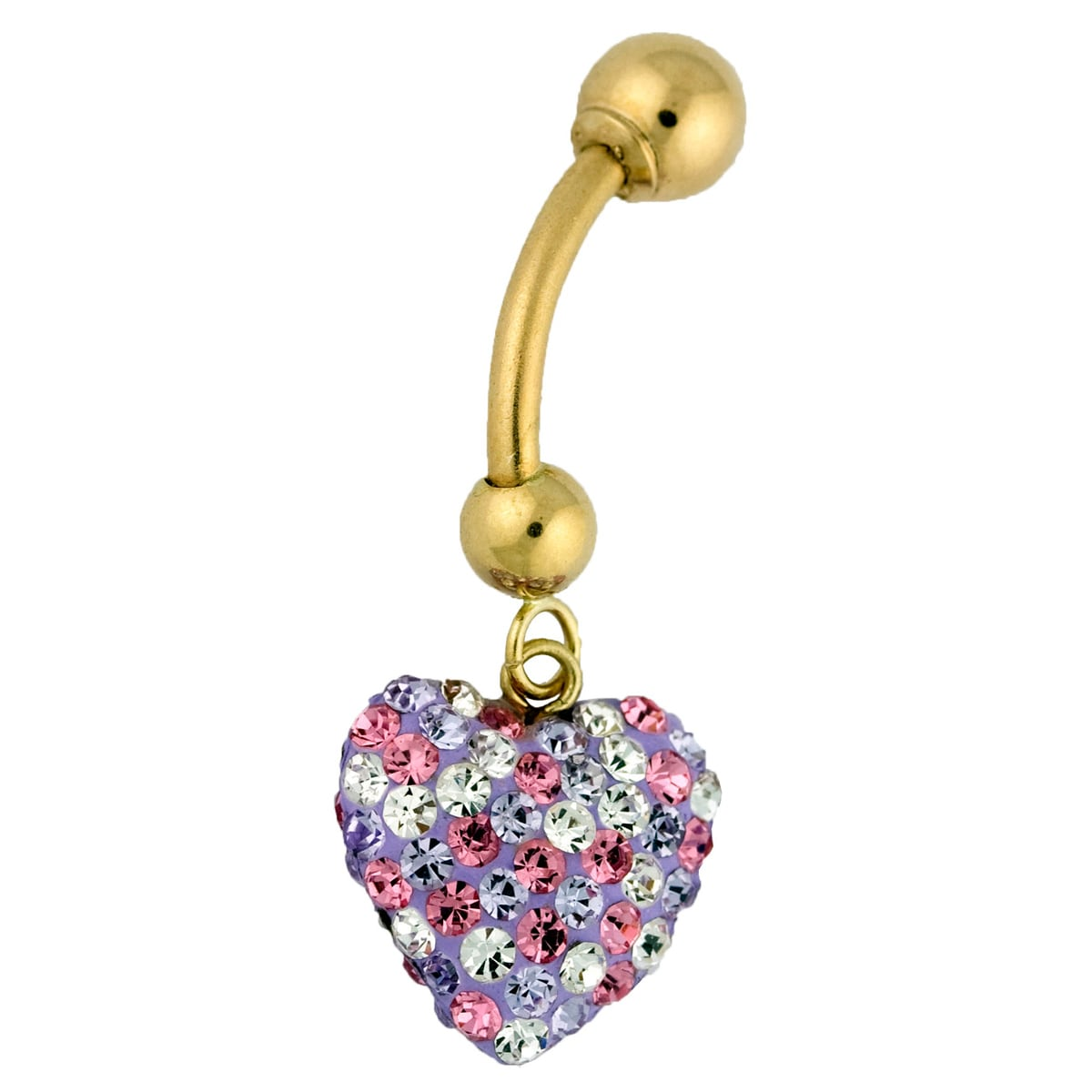Gioelli 10k Gold Pink, Purple and White Crystal Heart Belly Ring