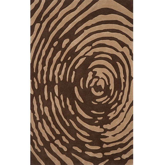 "Hand-tufted Swirl Brown (5'0"" x 7'6"")"
