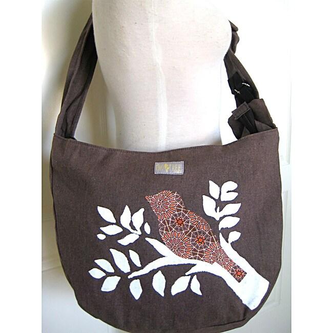 Handmade Heather Brown Canvas 'Bird On A Branch' Messenger Bag