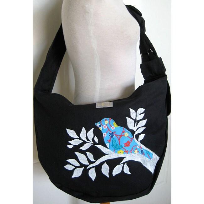 Handmade Black Canvas 'Bird On A Branch' Messenger Bag