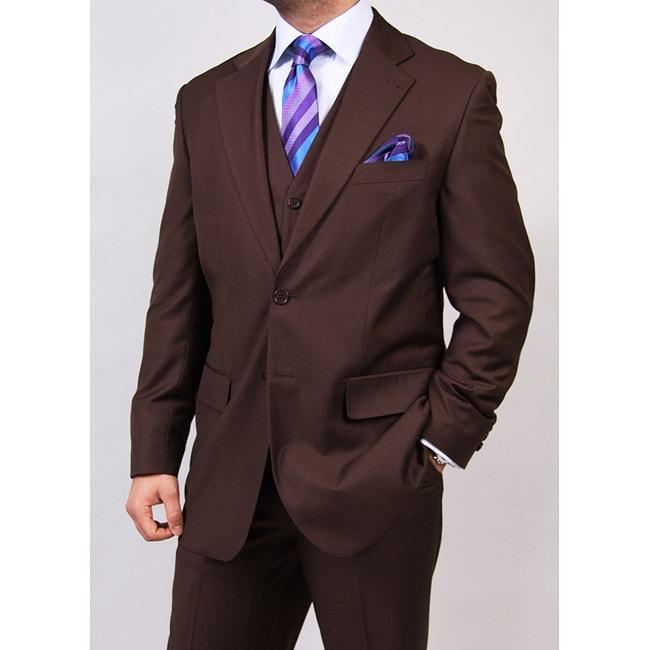 Ferrecci's Men's Brown 2-button Vested Suit