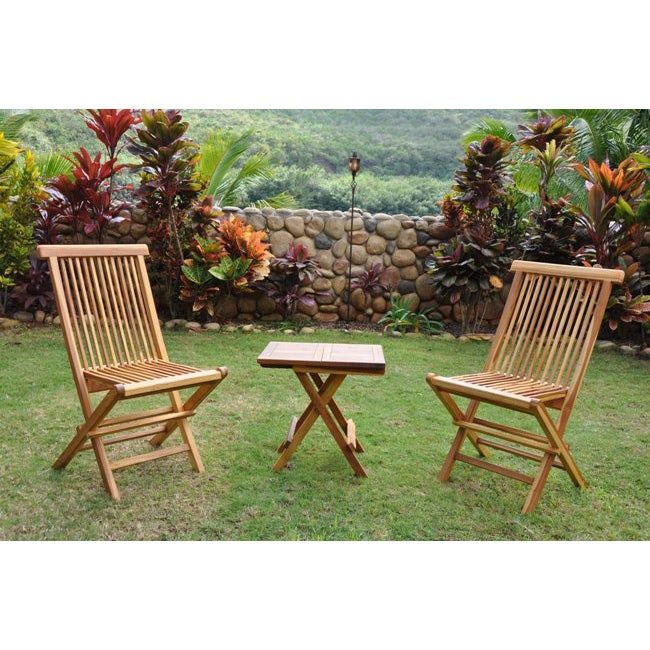 Teak Cocktail Table and Two Chairs Set