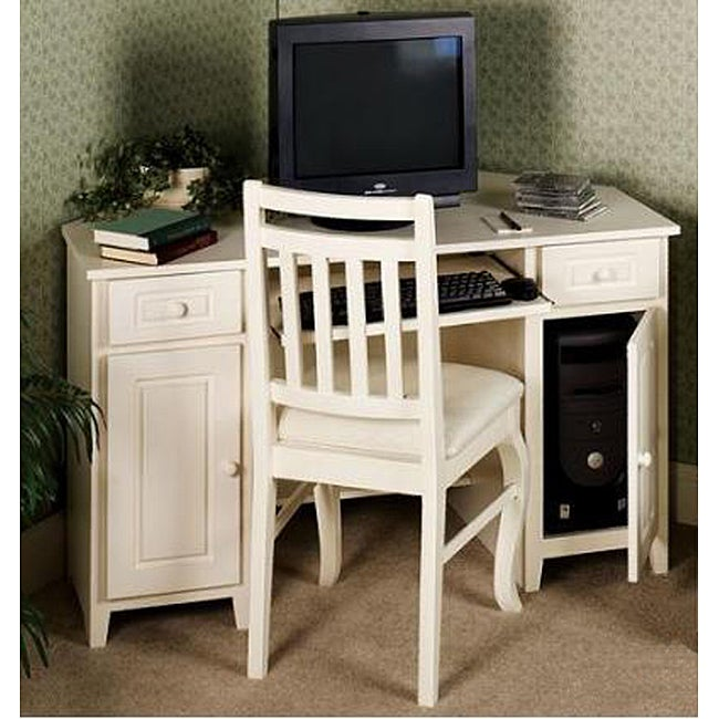Ivory White-wash Corner Computer Desk by Passport Accent