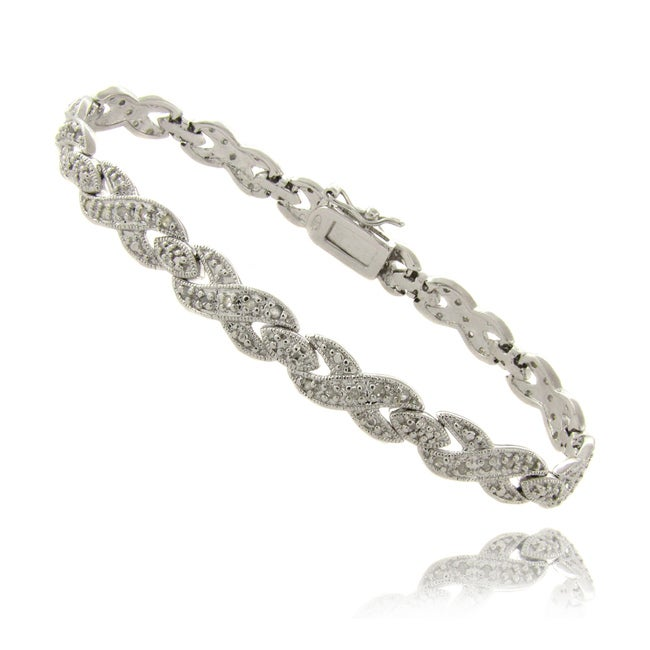 Finesque Sterling Silver 1/2ct TDW Diamond 'XO' Bracelet