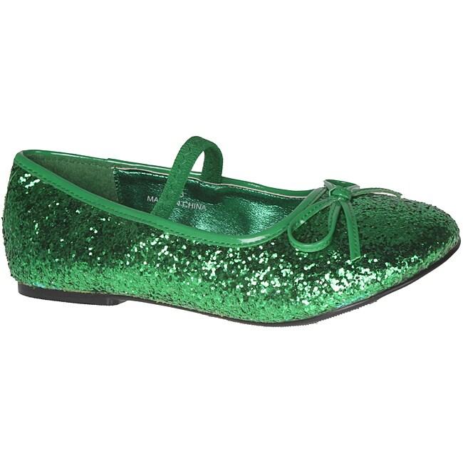 Pleaser Girl's Green Glitter Bow-tie Ballet Flats