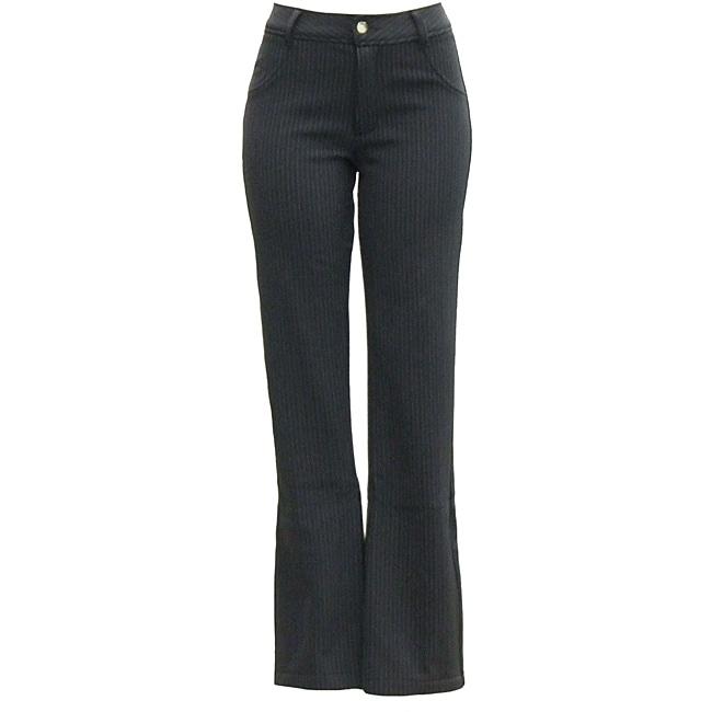 AFRC Women's Petite Stripe Jean Black/ Silver Ski Pants