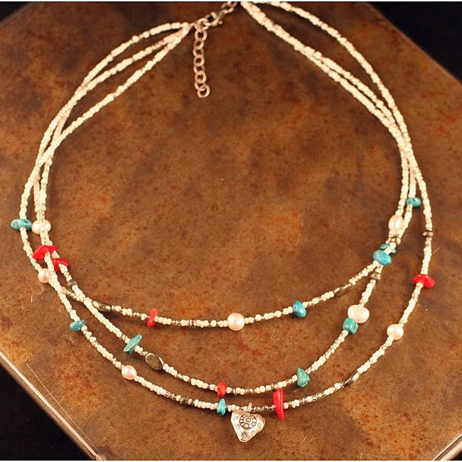 Peyote Bird Designs Silver 3-strand Heart Charm Necklace (China)