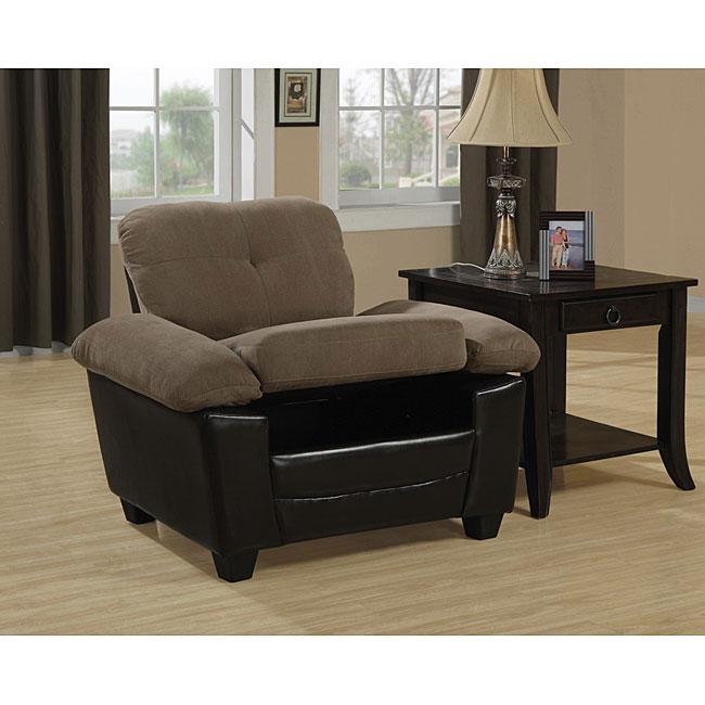 Two-tone Tan/ Brown Storage Chair