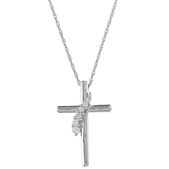 Eziba Collection Sterling Silver Clear Cubic Zirconia Cross Necklace at Sears.com