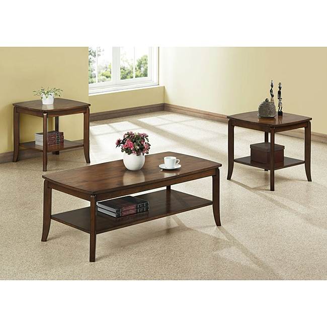 Walnut Solid Wood Top 3-piece Occassional Table Set