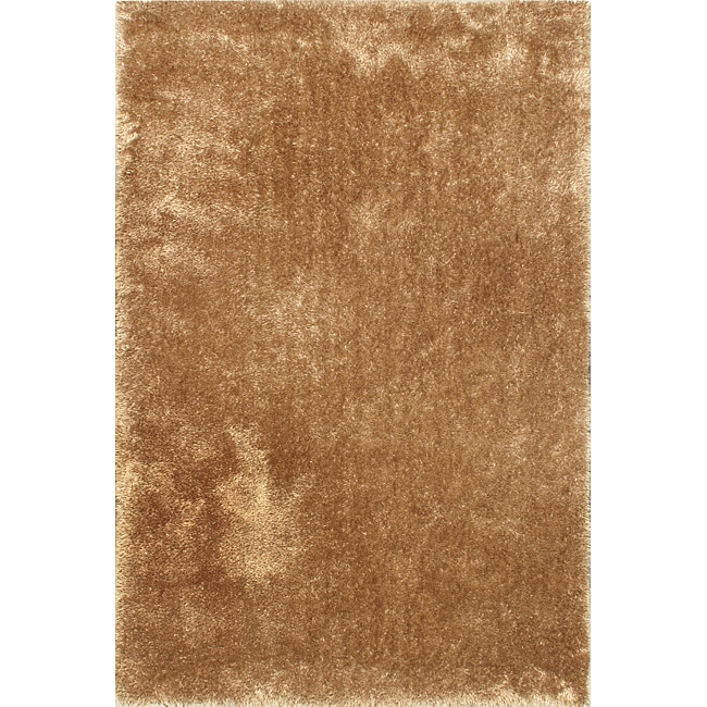 Hand-tufted Silky Shag Brown Rug (5'3 x 7'7)