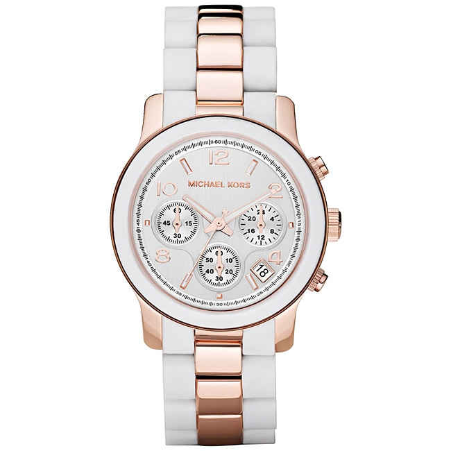 Michael Kors Womens Two-tone Rose-gold Silicone Bracelet Watch