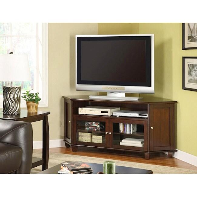 Dark Walnut Veneer 60-inch Corner TV Stand