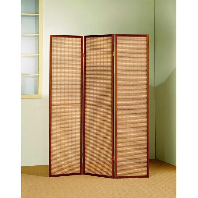 Cherry Wood Framed 3-panel Room Divider