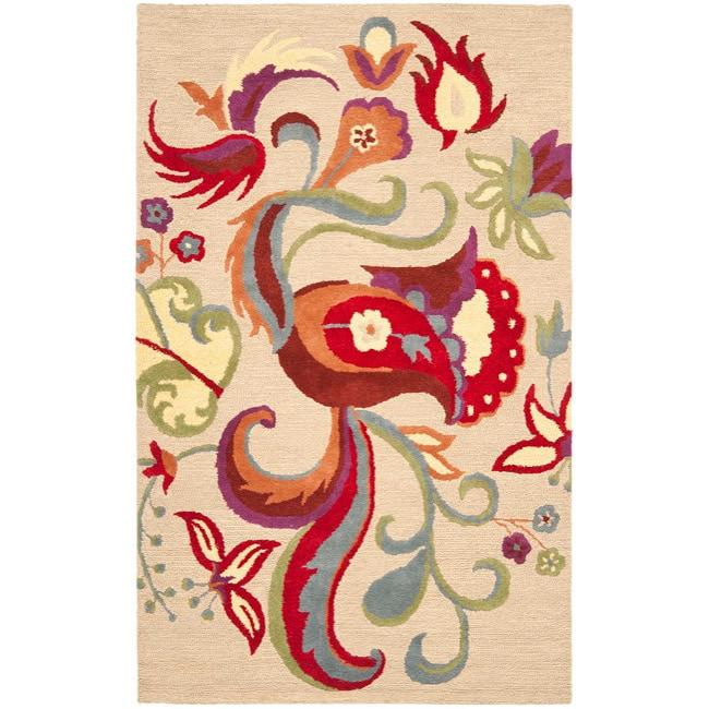 Safavieh Handmade Blossom Beige Wool Rug (8' x 10')