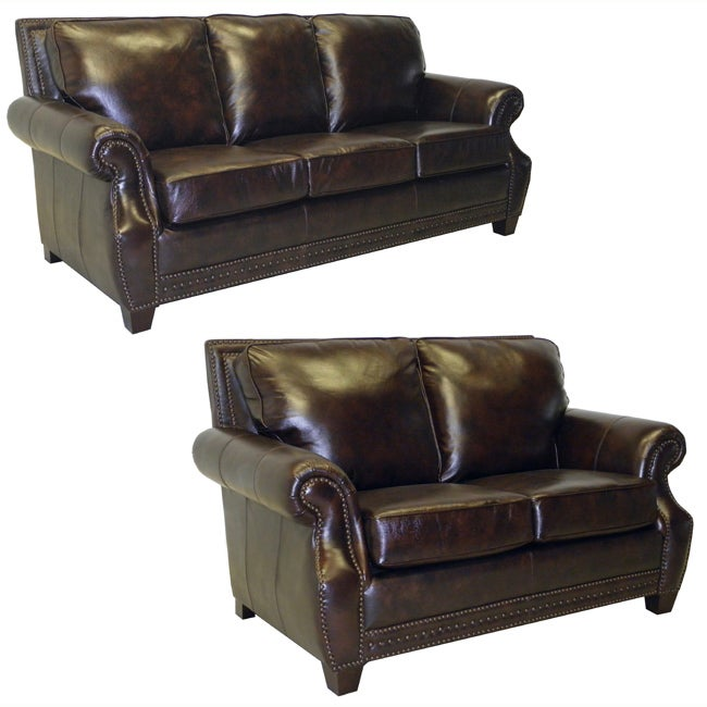 salem rustic brown italian leather sofa and loveseat set 13878619