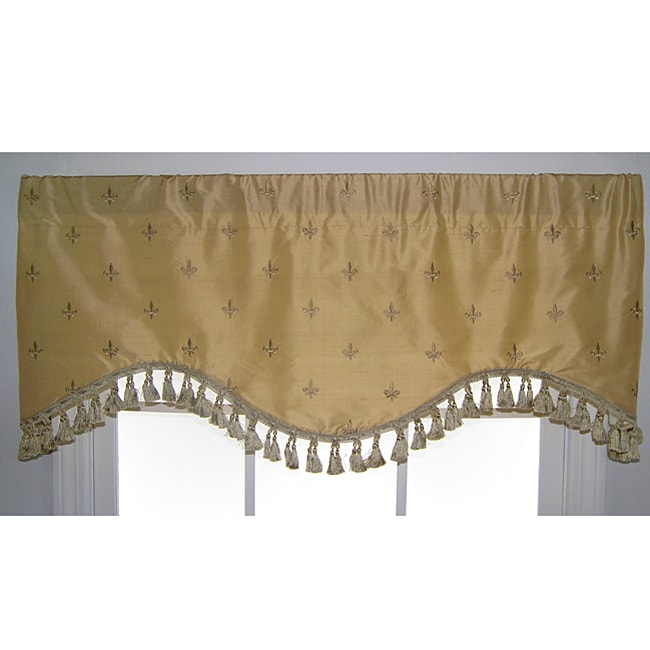 Fleur de lis silk cornice valance 13878678 overstock Fleur de lis window treatments