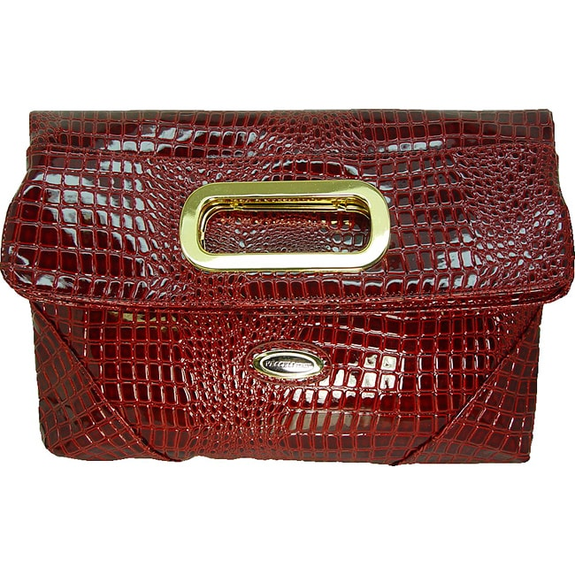 Ronella Lucci Vecceli Italy Crocodile Embossed Red Clutch