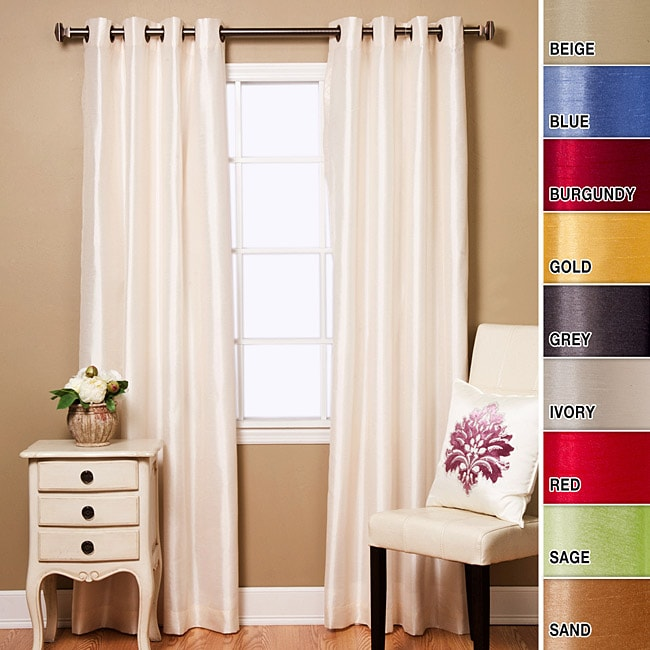 Faux Silk Solid 84-inch Curtain Panel Pair