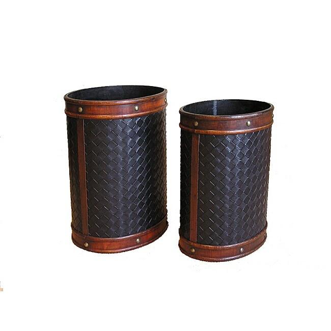 Decorative Wooden Oval Waste Basket Recycle Bin Set