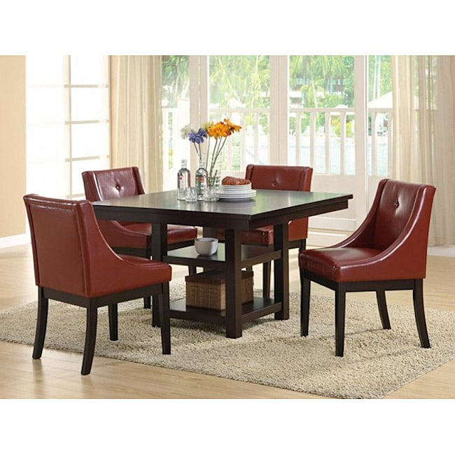 Burgundy Leather-like Side Chairs (Set of 2)