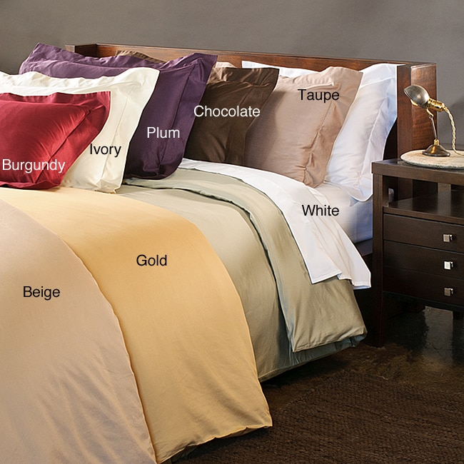 Luxor Treasures Egyptian Cotton 600 Thread Count Solid Full / Queen-size 3-piece Duvet Cover Set