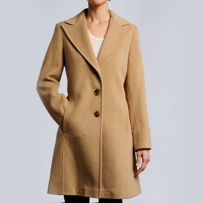 Larry Levine Women's Plus Size Camelhair Notch Collar Coat