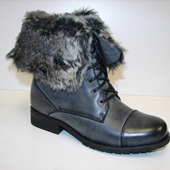 Bucco Women's Faux Fur Collar Lace-up Boots