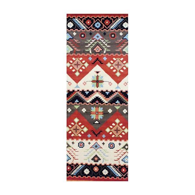 Indo Hand-tufted Tibetan Beige and Rust Wool Rug (2'6 x 8)