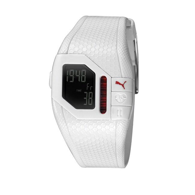 Puma Unisex 'Cardiac Plus' White Digital Heart Rate Monitor Watch