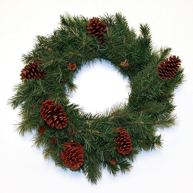 Good Tidings 24-inch Pembroke Hard Needle Pine Cones Wreath
