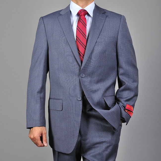 Men's Textured Blue 2-button Wool Suit