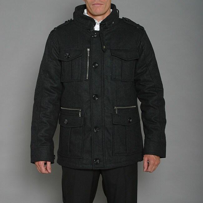 Ron Chereskin Men's Black Wool-blend Coat