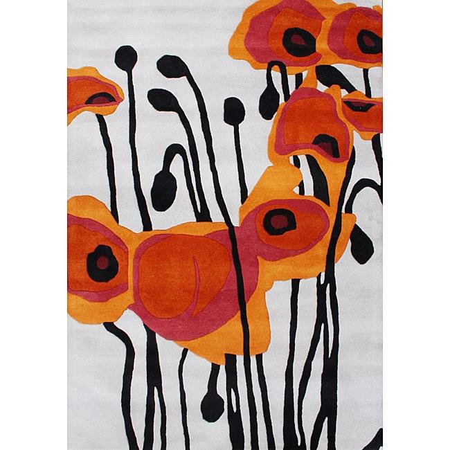 Hand-tufted Grey Tulip Floral Wool Rug (5' x 8')