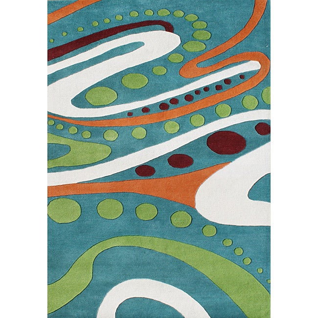 Alliyah Handmade New Zeeland Blend Hand-tufted Aqua Wool Rug (5' x 8')