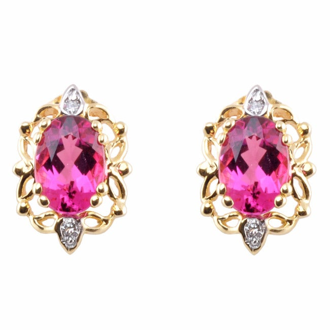 Michael Valitutti 14k Gold Brazilian Pink Tourmaline and Diamond Accent Earrings