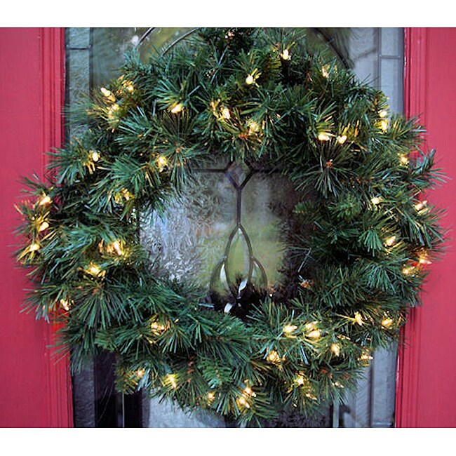 Olympia Spruce 24-inch Pre-Lit Artificial Wreath