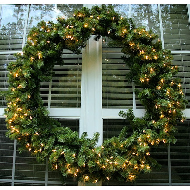 Deluxe Valley Pine 48-inch Pre-Lit Artificial Wreath