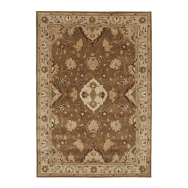 Hand-tufted 'Oriental' Brown Wool Rug (9'6 x 13'6)