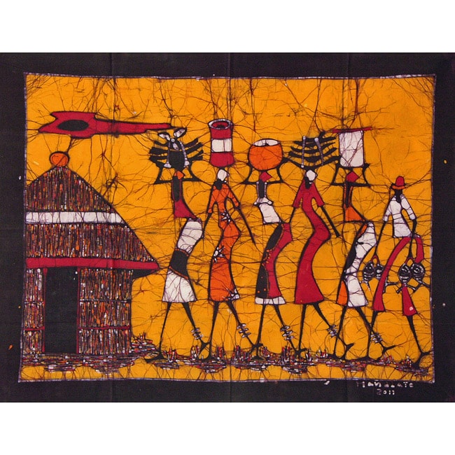 'Arriving at the Village' Batik Tapestry (Mozambique)
