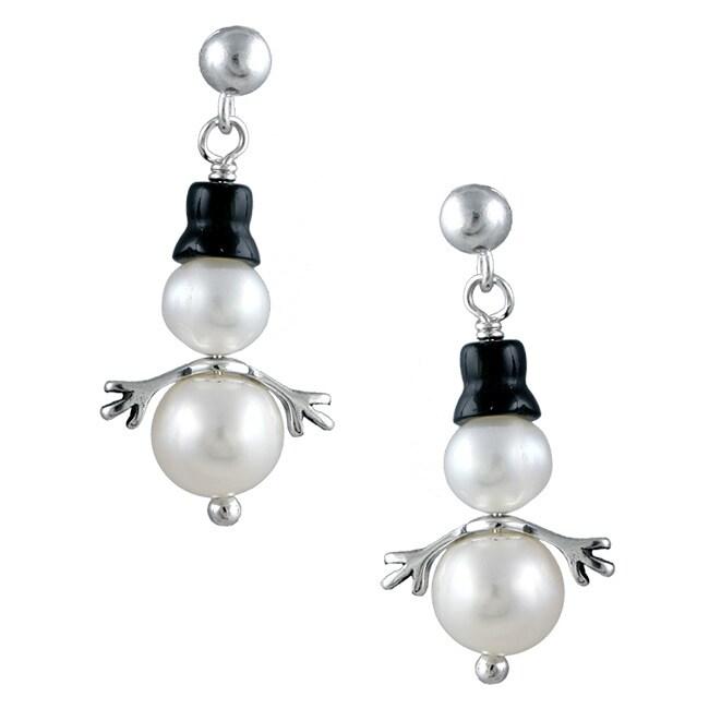 Silvermoon Sterling Silver Onyx Hat Pearl Snowman Earrings
