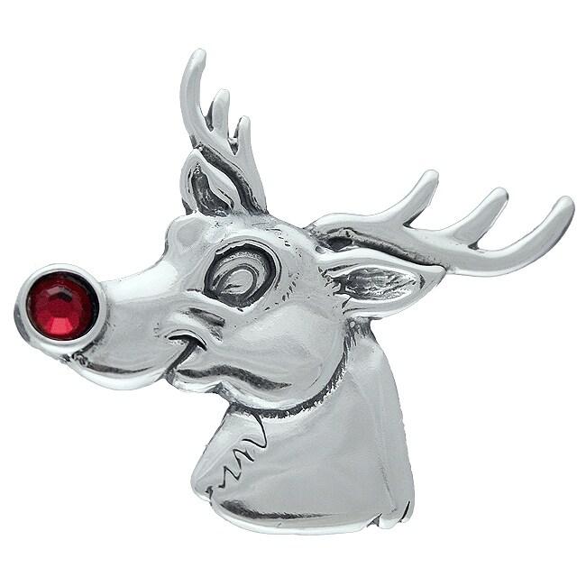 Silvermoon Sterling Silver Reindeer Red Crystal Brooch Pin