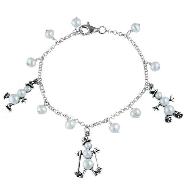 Silvermoon Sterling Silver Pearl Snowman Charm Bracelet